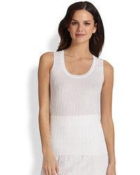 Top sans manches en tricot blanc