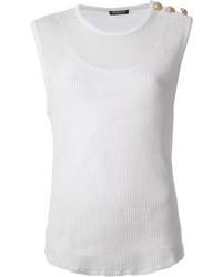 Top sans manches en tricot blanc Balmain