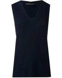 Top sans manches en tricot bleu marine The Row