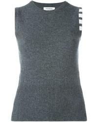 Top sans manches en tricot gris foncé Thom Browne