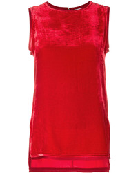 Top sans manches en velours rouge