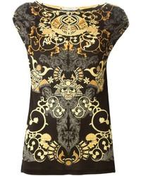 Top sans manches imprimé noir et doré Versace