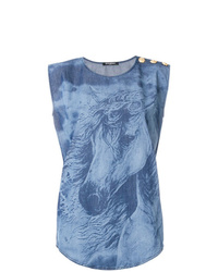 Top sans manches imprimé tie-dye bleu Balmain