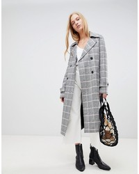 Trench à carreaux gris ASOS DESIGN