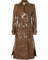 Trench en cuir imprimé marron Fendi