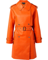Trench en cuir orange