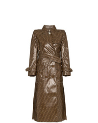Trench imprimé marron Fendi