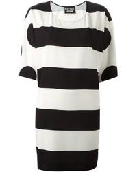 Tunique à rayures horizontales blanche et noire Moschino
