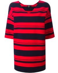 Tunique à rayures horizontales rouge et noir