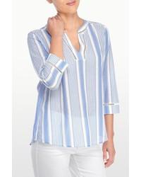 Tunique à rayures verticales blanc et bleu