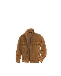Veste à col et boutons en daim marron