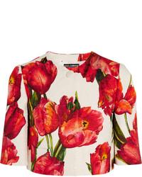 une veste à fleur rouge femme