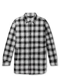 Veste-chemise à carreaux noire et blanche