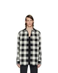 Veste-chemise à carreaux noire et blanche Bottega Veneta