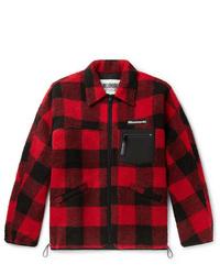 Veste-chemise à carreaux rouge et noir