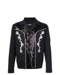Veste-chemise à fleurs noire DSQUARED2