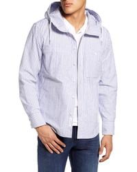 Veste-chemise à rayures verticales blanc et bleu