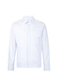 Veste-chemise à rayures verticales bleu clair Kent & Curwen