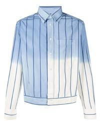 Veste-chemise à rayures verticales bleu clair Lanvin