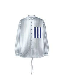 Veste-chemise à rayures verticales bleu clair Sunnei