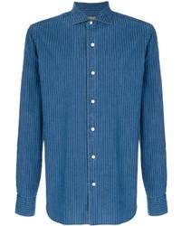 Veste-chemise à rayures verticales bleue