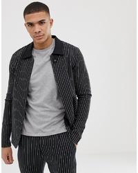 Veste-chemise à rayures verticales noire Jack & Jones
