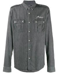 Veste-chemise brodée gris foncé Balmain