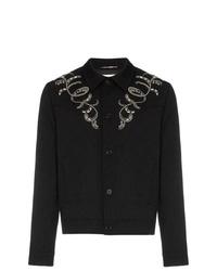 Veste-chemise brodée noire Saint Laurent