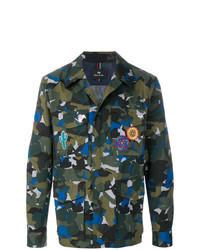 Veste-chemise camouflage vert foncé