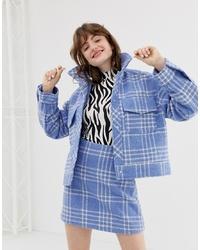 Veste-chemise écossaise bleue Monki