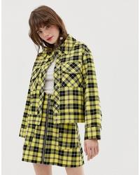 Veste-chemise écossaise jaune Monki