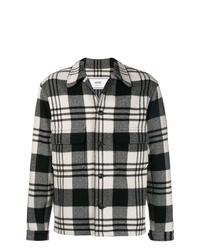 Veste-chemise écossaise noire et blanche AMI Alexandre Mattiussi