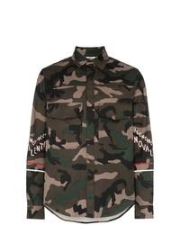 Veste-chemise en coton camouflage olive Valentino