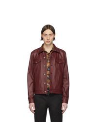 Veste-chemise en cuir bordeaux Paul Smith