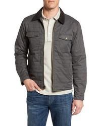 Veste-chemise en cuir gris foncé