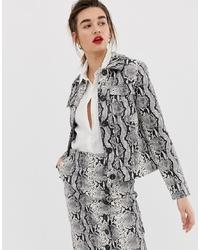 Veste-chemise en cuir imprimée grise Warehouse