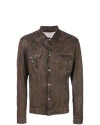 Veste-chemise en cuir marron foncé