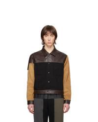 Veste-chemise en cuir marron foncé GR-Uniforma