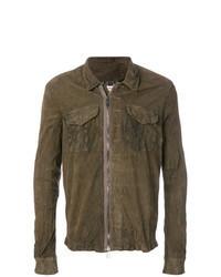 Veste-chemise en cuir marron