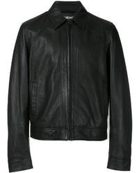 Veste-chemise en cuir noire