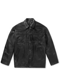 Veste-chemise en cuir noire Balenciaga