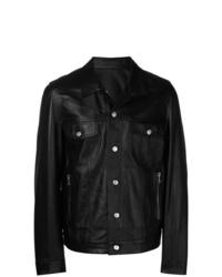 Veste-chemise en cuir noire Balmain