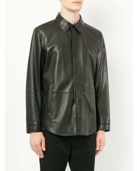 Veste-chemise en cuir noire D'urban