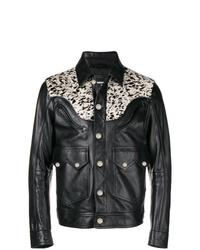 Veste-chemise en cuir noire DSQUARED2