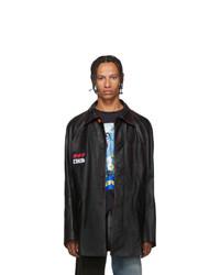 Veste-chemise en cuir noire Heron Preston