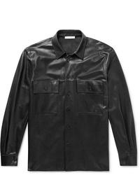 Veste-chemise en cuir noire The Row