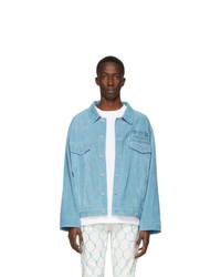 Veste-chemise en daim bleu clair