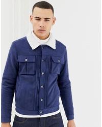 Veste-chemise en daim bleu marine