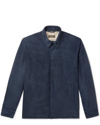 Veste-chemise en daim bleu marine Loro Piana