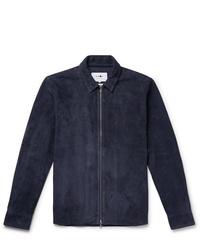Veste-chemise en daim bleu marine Nn07